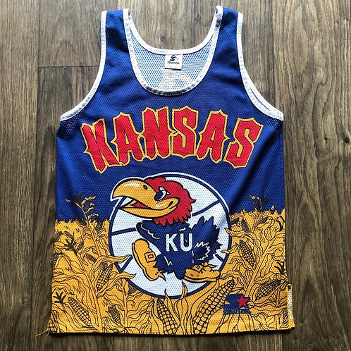 Vintage Starter Kansas Jayhawks Basketball All Over Print Jersey Sz M