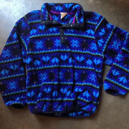 Vintage LL Bean Snap T Fleece Pullover Sz M