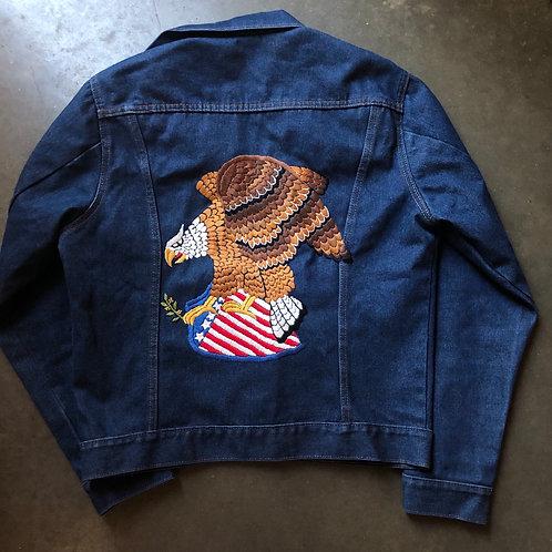 Vintage Big Mac Eagle Dark Blue Denim Jean Jacket Sz L