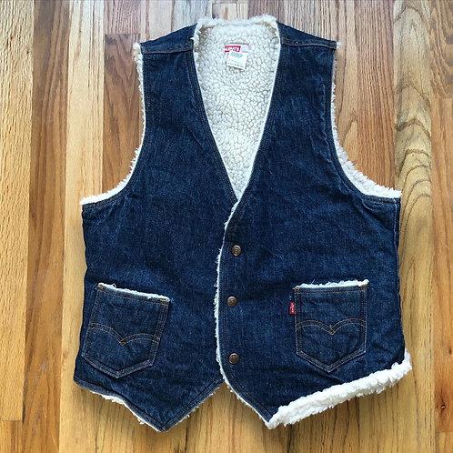 Vintage Levi's USA Sample Sherpa Lined Denim Jean Jacket Vest Sz M