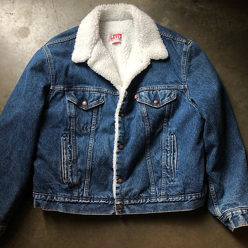 Vintage Levi's USA Sherpa Lined Denim Jean Jacket Sz 48 R (XL)