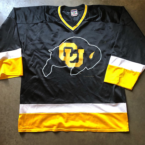 Vintage Red Oak Colorado Buffaloes Hockey Jersey Sz L