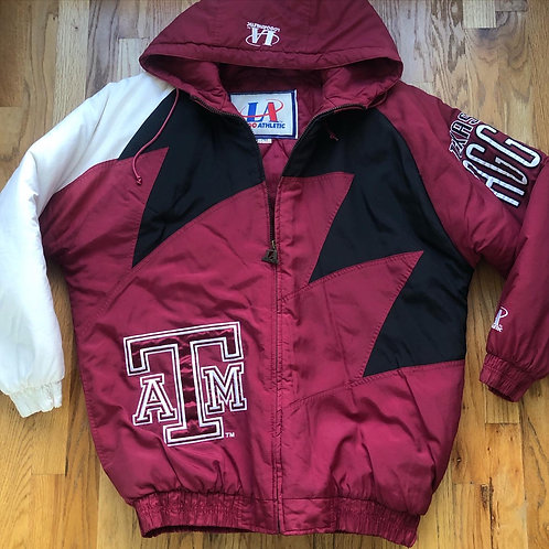 Vintage Logo Athletic Texas A&M Aggies Sharktooth Puffer Jacket Sz L