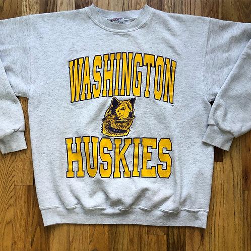 Vintage Washington Huskies Heather Gray Crewneck Sweatshirt Sz L