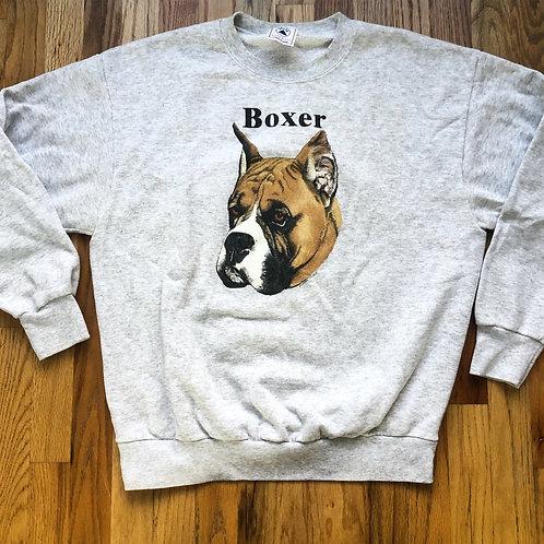 Vintage Delta Boxer Dog Heather Gray Crewneck Sweatshirt Sz L/XL