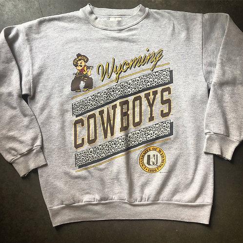 Vintage Wyoming Cowboys Heather Gray Crewneck Sweatshirt Sz L/XL