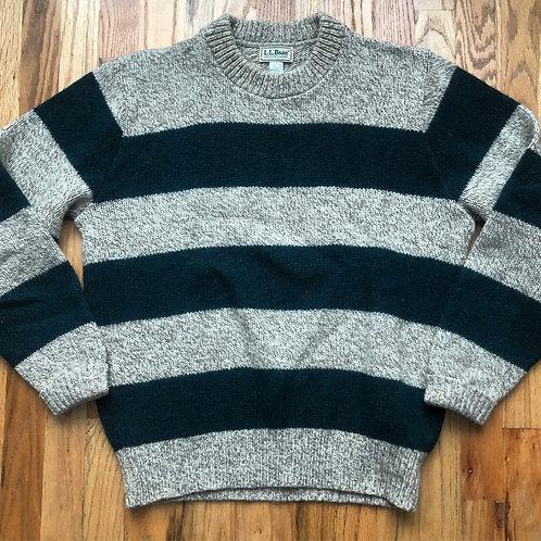 Vintage 80s LL Bean Wool Striped Sweater Sz M