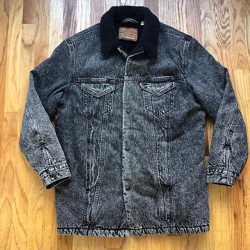 Levi's Premium Long Sherpa Lined Stonewashed Denim Jean Jacket Sz L