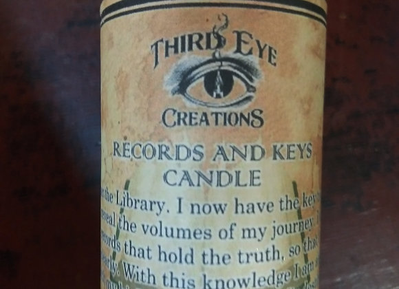 Records and Keys Votive Candle