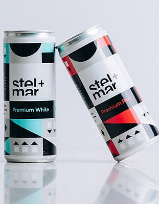 Stel-Mar white and red cans, CA