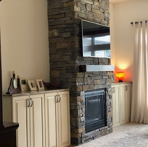 Modern Stone fireplace remodeling