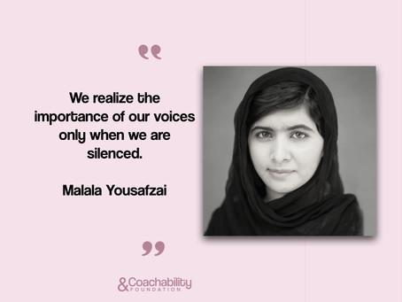 #07 Quote.Inspirational moment by Malala Yousafzai.