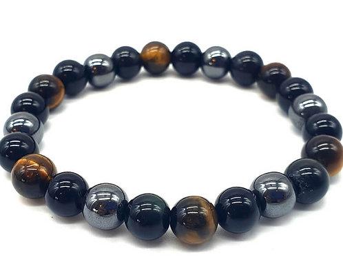 Bracelet Triple protection - Obsidienne, Hématite, œil de tigre 8mm ou 10mm