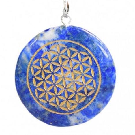 collier et pendentif en Lapis Lazuli et sa fleur de vie dorée