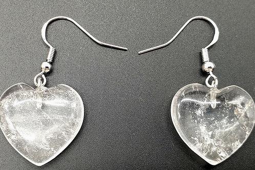 Boucle d'oreille cœur cristal de roche