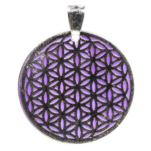 Collier avec pendentif Fleur de vie violette Laiton