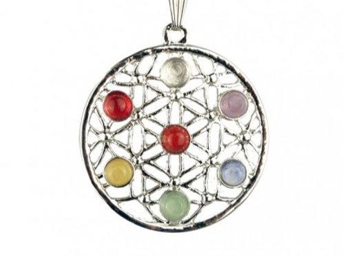 Collier avec pendentif 7 chakras Toile pierres et laiton plaqué argent