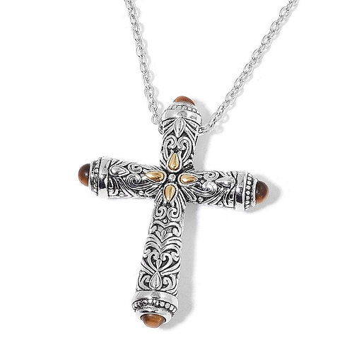 Tiger's eye Silver Cross