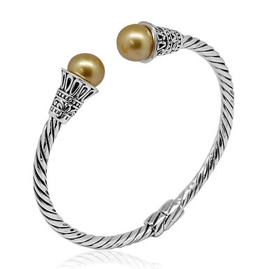 PEARL (10.5 MM) STERLING SILVER TWISTED CUFF (7.50 IN)  Bali Legacy Collection S
