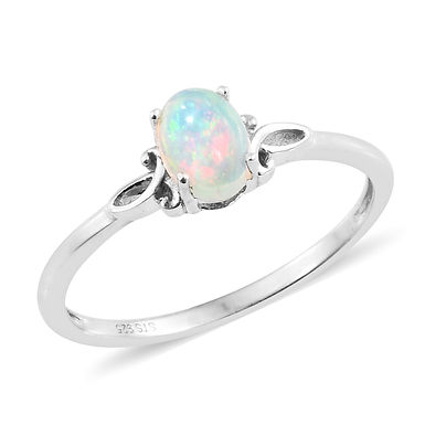 (Opal)   Platinum Over Sterling Silver Ring.     (Size 8)
