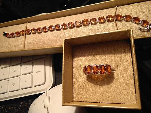 Firey Orange Garnet Bracelet & Ring
