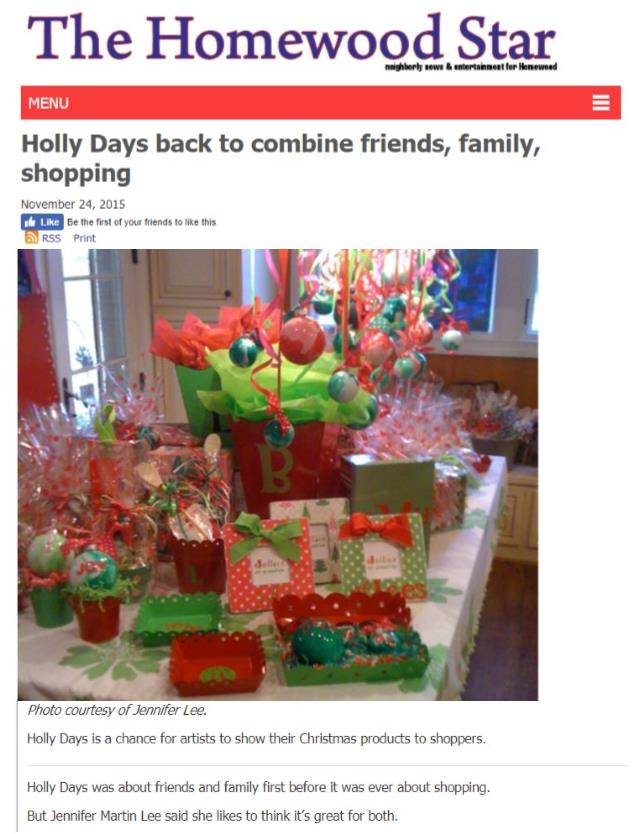 Homewood Star Holly Days Article