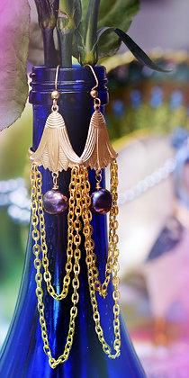 Black Freshwater Pearl Chain Earrings