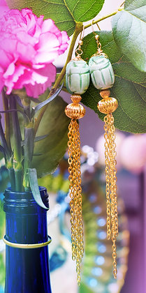 Green Scarab Tassel Earrings