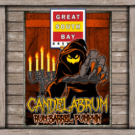 Candel Abrum Rum Barrel Pumpkin Logo