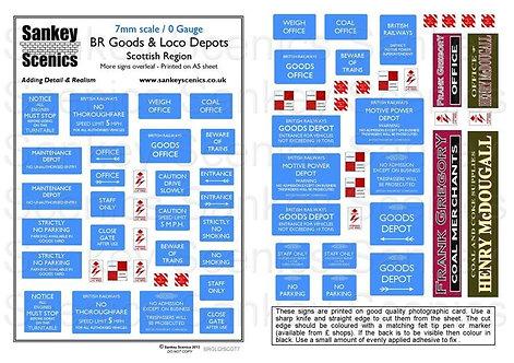 7mm BR Goods and Loco Depot Signage Scottish Region