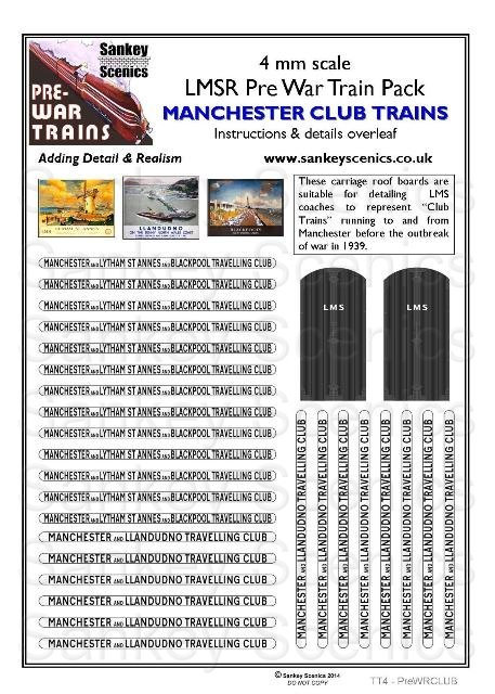 4mm Pre-war Titled Train: Manchester Club Trains