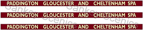 4mm BR WR Destination Boards: Paddington, Gloucester & Cheltenham Spa