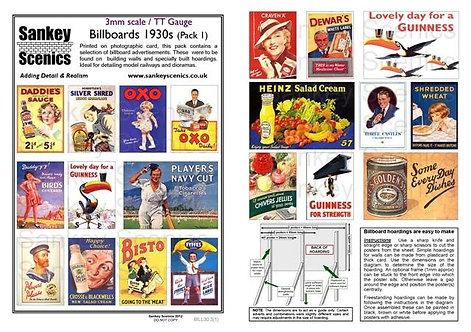 3mm TT Billboards 1930s Pack 1