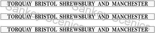4mm GWR Destination Boards: Torquay, Bristol, Shrewsbury & Manchester