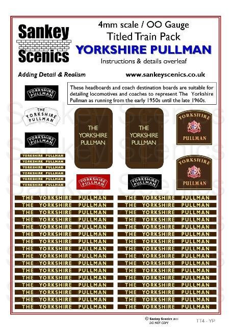 4mm Titled Train: Yorkshire Pullman