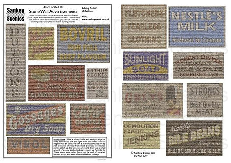 4mm Stone Wall Advertisements Pack 1