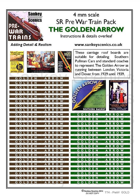 4mm Pre-war Titled Train: The Golden Arrow
