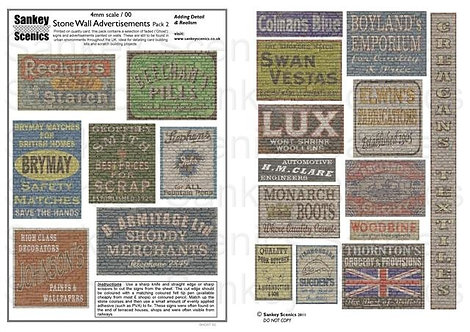 4mm Stone Wall Advertisements Pack 2