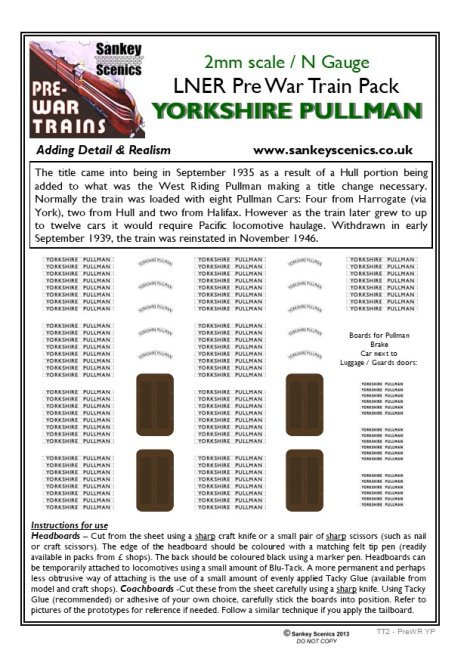 2mm Pre-war Titled Train: Yorkshire Pullman