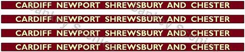 4mm BR Hawksworth Destination Boards: Cardiff, Newport, Shrewsbury & Chester