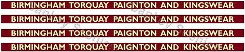 4mm BR Hawksworth Destination Boards: Birmingham, Torquay, Paignton & Kingswear