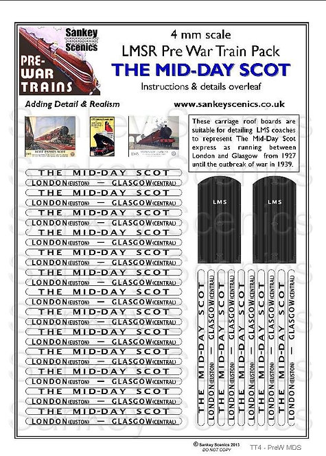 4mm Pre-war Titled Train: The Mid-Day Scot