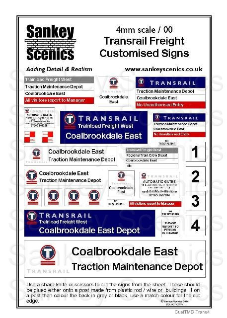 4mm Customised TMD Signage Transrail Depot Combination