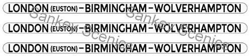 4mm LMS Destination Boards: London - Birmingham - Wolverhampton