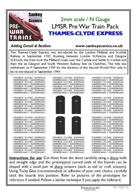 2mm Pre-war Titled Train: Thames-Clyde Express
