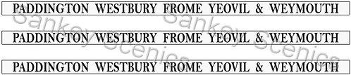 4mm GWR Destination Boards: Paddington, Westbury, Frome, Yeovil & Weymouth