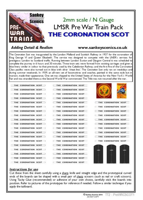 2mm Pre-war Titled Train: The Coronation Scot