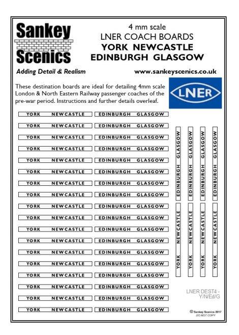 4mm LNER Destination Boards: York  Newcastle  Edinburgh  Glasgow