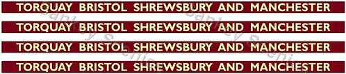 4mm BR Hawksworth Destination Boards: Torquay, Bristol, Shrewsbury & Manchester