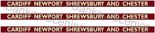 4mm BR WR Destination Boards: Cardiff, Newport, Shrewbury & Chester